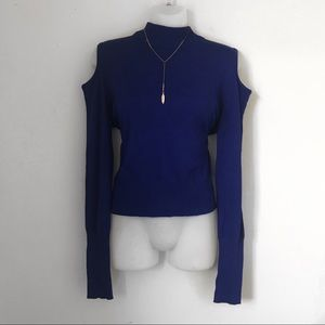Sweaters - Cold Shoulder Sweater Top in Blue